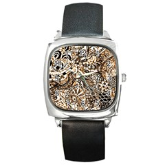 Zentangle Mix 1216c Square Metal Watch