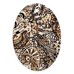 Zentangle Mix 1216c Oval Ornament (Two Sides)