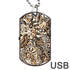 Zentangle Mix 1216c Dog Tag USB Flash (One Side)