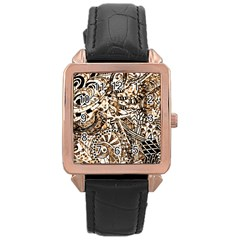 Zentangle Mix 1216c Rose Gold Leather Watch