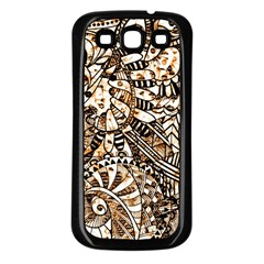 Zentangle Mix 1216c Samsung Galaxy S3 Back Case (Black)