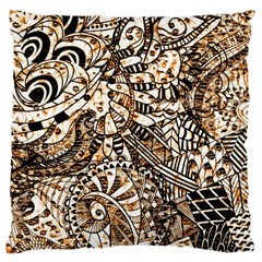 Zentangle Mix 1216c Large Flano Cushion Case (Two Sides)