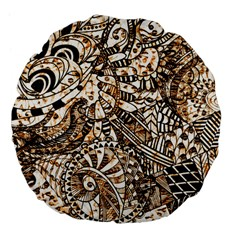 Zentangle Mix 1216c Large 18  Premium Flano Round Cushions
