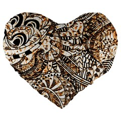 Zentangle Mix 1216c Large 19  Premium Flano Heart Shape Cushions