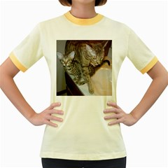 Ocicat Tawny Kitten With Cinnamon Mother  Women s Fitted Ringer T-Shirts