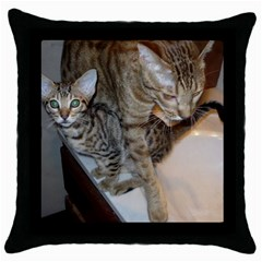 Ocicat Tawny Kitten With Cinnamon Mother  Throw Pillow Case (Black)