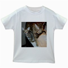 Ocicat Tawny Kitten With Cinnamon Mother  Kids White T-Shirts