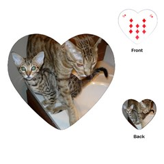 Ocicat Tawny Kitten With Cinnamon Mother  Playing Cards (Heart)