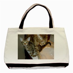 Ocicat Tawny Kitten With Cinnamon Mother  Basic Tote Bag (Two Sides)