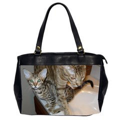 Ocicat Tawny Kitten With Cinnamon Mother  Office Handbags (2 Sides)