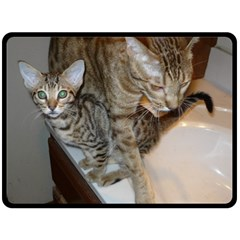 Ocicat Tawny Kitten With Cinnamon Mother  Fleece Blanket (Large)