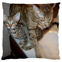 Ocicat Tawny Kitten With Cinnamon Mother  Large Cushion Case (One Side)