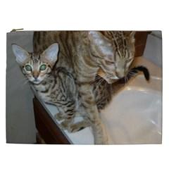 Ocicat Tawny Kitten With Cinnamon Mother  Cosmetic Bag (XXL)
