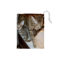 Ocicat Tawny Kitten With Cinnamon Mother  Drawstring Pouches (Small)