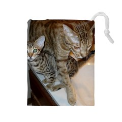 Ocicat Tawny Kitten With Cinnamon Mother  Drawstring Pouches (Large)