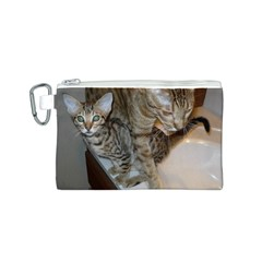 Ocicat Tawny Kitten With Cinnamon Mother  Canvas Cosmetic Bag (S)