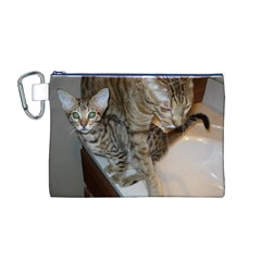 Ocicat Tawny Kitten With Cinnamon Mother  Canvas Cosmetic Bag (M)