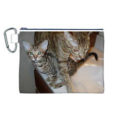 Ocicat Tawny Kitten With Cinnamon Mother  Canvas Cosmetic Bag (L)