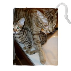 Ocicat Tawny Kitten With Cinnamon Mother  Drawstring Pouches (XXL)