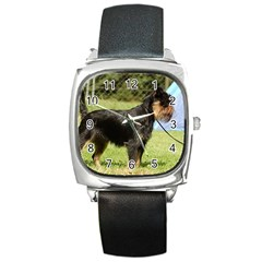 Brussels Griffon Full  Square Metal Watch