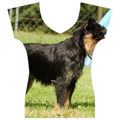 Brussels Griffon Full  Women s V-Neck Cap Sleeve Top