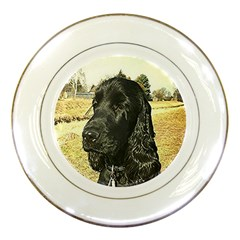 Black English Cocker Spaniel  Porcelain Plates