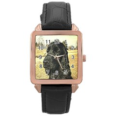 Black English Cocker Spaniel  Rose Gold Leather Watch