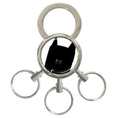 Peeping German Shepherd Bi Color  3-Ring Key Chains