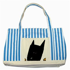 Peeping German Shepherd Bi Color  Striped Blue Tote Bag