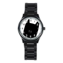 Peeping German Shepherd Bi Color  Stainless Steel Round Watch