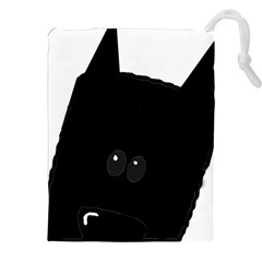 Peeping German Shepherd Bi Color  Drawstring Pouches (XXL)