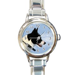 Karelian Bear Dog Round Italian Charm Watch