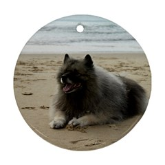 Keeshond On Beach  Ornament (Round)