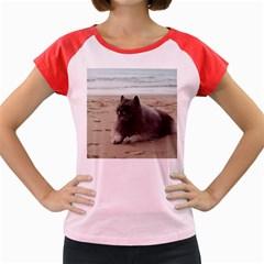 Keeshond On Beach  Women s Cap Sleeve T-Shirt