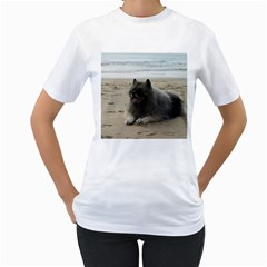 Keeshond On Beach  Women s T-Shirt (White) (Two Sided)