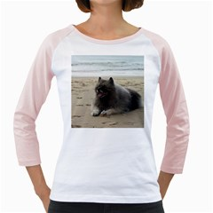 Keeshond On Beach  Girly Raglans