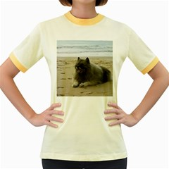 Keeshond On Beach  Women s Fitted Ringer T-Shirts