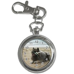 Keeshond On Beach  Key Chain Watches