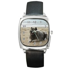 Keeshond On Beach  Square Metal Watch