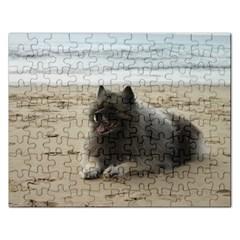 Keeshond On Beach  Rectangular Jigsaw Puzzl