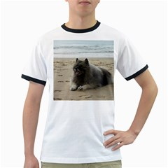 Keeshond On Beach  Ringer T-Shirts