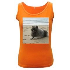 Keeshond On Beach  Women s Dark Tank Top