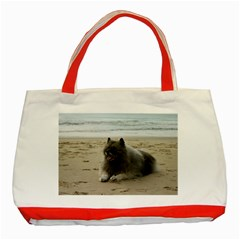 Keeshond On Beach  Classic Tote Bag (Red)