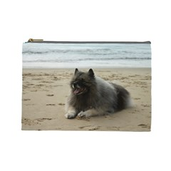 Keeshond On Beach  Cosmetic Bag (Large)