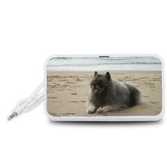 Keeshond On Beach  Portable Speaker (White)