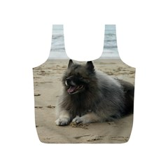 Keeshond On Beach  Full Print Recycle Bags (S)