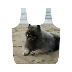 Keeshond On Beach  Full Print Recycle Bags (M)