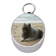 Keeshond On Beach  Mini Silver Compasses
