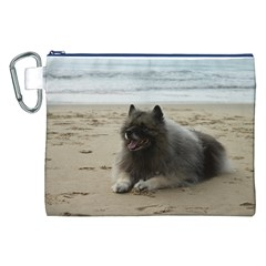 Keeshond On Beach  Canvas Cosmetic Bag (XXL)