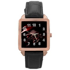 Fractal Mathematics Abstract Rose Gold Leather Watch